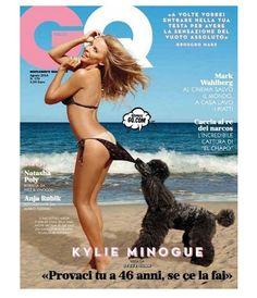 Kylie Minogue refaz pose clássica da Coppertone na capa da GQ Itália