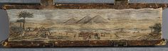 Fore-edge painting of a Nile River scene by John T. Beer on a 1481 Bible.