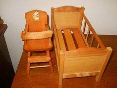 1950's Wood Strombecker Crib & Highchair Sized For Vogue Ginnette Doll