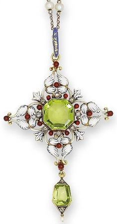 A late 19th century peridot, enamel and diamond pendant, by Carlo Giuliano, circa 1880