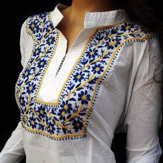 Snow White beach wedding shirt tunic gift for womens fashionable blouse Blend of Traditional weaves with Contemporary Treatment Our embroidered garments are available in wide range of attractive desi Snow White Dresses, Snow Dress, Embroidery Suits, Embroidery Fashion, Hand Embroidery, Embroidery Designs, Wedding Embroidery, Embroidery Stitches, Moda Afro