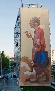 Mural of an older woman, smoking a cigarette and walking her dog. Urban Polish street art by duo Etam Cru (Sainer and Bezt). 3d Street Art, Murals Street Art, Urban Street Art, Best Street Art, Amazing Street Art, Art Mural, Street Art Graffiti, Street Artists, Wall Street