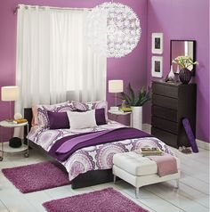 LYCKOAX Duvet cover and pillowcase(s), white, lilac | Dream in color with LYCKOAX bedding. | Home and Household