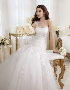 "Bridal dress P7428  by ""2014 Perle di Delsa collection"""