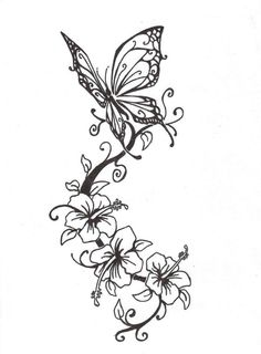 Butterfly With Flowers Tattoo Design