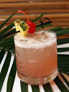 Kobe Punch (1 oz. lemon-infused Vodka 1 oz. mango rum 2 oz. pineapple juice 2 oz. cranberry juice)