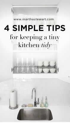 4 Simple Tips for Keeping a Tiny Kitchen Tidy | Martha Stewart Living - No matter what the size of your kitchen, there should be a place for everything and everything in its place. Here are some helpful hints on how to maximize your storage and make your life easier.
