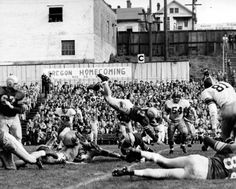 Black and white photo of University of Oregon halfback Walt Gaffney (#37) reaching for the ground while diving forward with the football during a game played against USC in Portland at Multnomah Stadium on October 31, 1953 and won by the Ducks 13-7. Also seen are Tim Flaherty (#67) and Len Berrie (#84). ©University of Oregon Libraries - Special Collections and University Archives