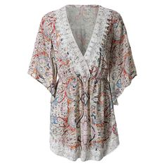 Style: Bohemian :    Material: Polyester/Lace :    Silhouette: Asymmetrical :    Dresses Length: Mini :    Neckline: Plunging Neck :    Sleeve Length: 3/4 Length Sleeves :    Pattern Type: Print :    With Belt: No :    Season: Spring/Summer :    Weight: 0.202 KG :    Package Contents: 1 x Dress: