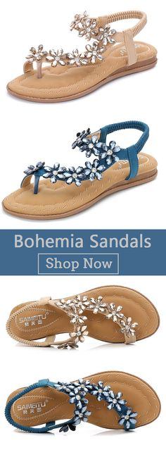 46a87dbff2c40 Rhinestone Clip Toe Bohemia Sandals Worldwide Shipping
