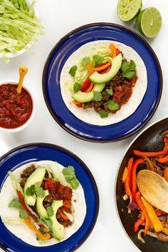"Vegan Fajitas made with a delicious Lentil Walnut Taco ""Meat""!"