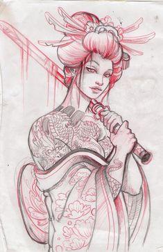Samurai geisha design