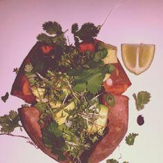Sweet potato#black beans#avacado#special sauce#cress#cilantro#mynewroots
