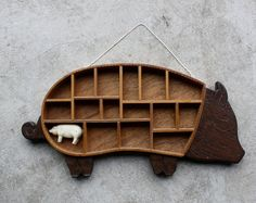 Vintage Wooden Pig Wall Cubby