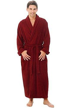 49201ea9a2 MENS LONG BURGUNDY BATHROBE LARGE EXTRA L TERRY CLOTH 100 COTTON SPA ROBE  SOFT