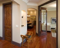 White crown molding with wood trim