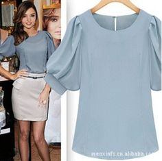 2015 New Fashion Sheer Blouse Spring & Summer Women Casual blouses Bubble Short-sleeved Shirts Ladies White plus size Blusa - Herren- und Damenmode - Kleidung Blouse And Skirt, Work Blouse, Sheer Blouse, Sleeveless Blouse, Blouse Styles, Blouse Designs, Work Fashion, Fashion Outfits, Fashion Blouses