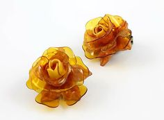 Vintage Amber Rose flower Celluloid Earrings 1950s by RMSjewels, $12.00