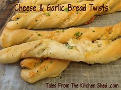 Homemade Garlic Bread Twists : Twisted with Garlic, Parmesan & Fresh Herbs or Sun Dried Tomato & Bacon or Roasted Red Pepper & Feta Cheese.