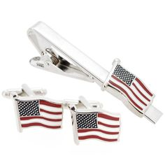 Patriotic Star And Stripes US American Flag Cufflinks And Tie Clip Set