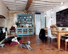 During the restoration of her 18th-century Shropshire farmer's cottage, Chanel creative consultant Amanda Harlech left many of the home's original plaster walls unpainted. In the kitchen, the robin's egg blue hutch stands out against the wall's many layers of history, and her whippets warm themselves in front of the Aga range.