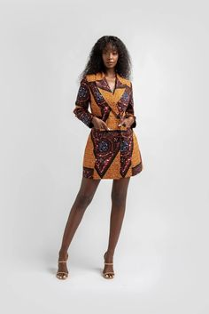 ZURI African print Blazer Dress Source by oyinesther. African Clothing Stores, African Print Clothing, African Print Dresses, African Dress, African Prints, Ankara Dress, Clothing Styles, African Inspired Fashion, African Print Fashion