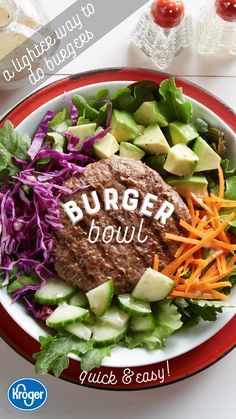 A lighter way to get your burger fix this summer! These bowls are quick to put together and approved! Get all the ingredients this summer at Food 4 Less. Lunch Recipes, Summer Recipes, Beef Recipes, Low Carb Recipes, Vegetarian Recipes, Cooking Recipes, Healthy Recipes, Recipies, Salt Free Recipes