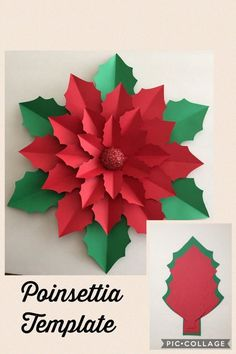 Best 12 Giant paper poinsettia flower template and tutorial by Abbi Kirsten Collections. Christmas Paper, Christmas Crafts For Kids, Christmas Projects, Holiday Crafts, Christmas Holidays, Christmas Ornaments, Christmas Mandala, Origami Christmas, Christmas Flowers