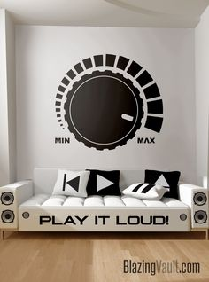Loud Volume Knob Wall Decal – Music Wall Sticker Mixer Sliders Console Knobs Recording Studio Music Decal Audio Wave by Blazing Vault – audio room ideas Home Studio Musik, Music Studio Decor, Music Wall Decor, Music Bedroom, Gold Office Decor, Home Music, Kids Music, Recording Studio Design, Music Recording Studio