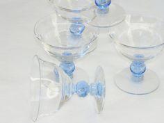 Vintage Crystal Blue Ball Stemware Set 5 by BonAppetitAntique, $30.00
