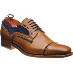 Barker shoes   Barker Creative   Haig Derby shoe in Cedar Calf and Blue Suede at Herring Shoes