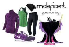 """Maleficent goes running"" by angiodancer ❤ liked on Polyvore featuring NIKE, Werkstatt:München, running, maleficent, disney and sleeping beauty"
