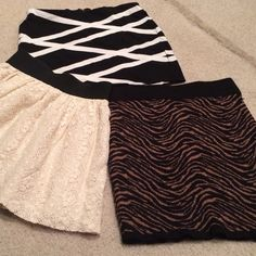 Forever 21 skirts set of 3 3 forever 21 skirts. Two are size small, one medium (ran small) Forever 21 Skirts Mini