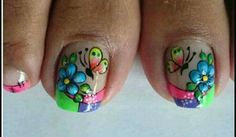 Wow Nails, Pretty Toe Nails, Cute Toe Nails, Toe Nail Art, Cute Pedicure Designs, Toe Nail Designs, Summer Toe Designs, Magic Nails, Nail Patterns