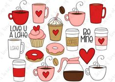 Valentine Coffee Hand Drawn Digital Clipart - Set of 20 - Latte, Valentine's Day, Cupcake, Heart - I Stickers Kawaii, Cute Stickers, Coffee Doodle, Valentines Day Drawing, Cupcake Drawing, Bullet Journal Art, Flower Doodles, Doodle Art, Doodle Frames