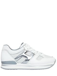 b9e6ed60a9c HOGAN 50Mm H222 Leather & Glitter Sneakers, White. #hogan #shoes #sneakers