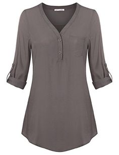 Messic Womens VNeck Blouses 34 RollUp Sleeve Button Down Casual Woven Shirt XXLarge Grey ** Want additional info? Click on the image.
