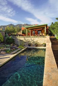 Desert House Pool with beautiful deep blue tile