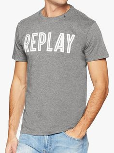 Replay Logo Carrier T-Shirt Grey Evolve Clothing, Replay, Denim Fashion, Denim Style, Clothes For Women, Logo, Trending Outfits, Grey, Cotton
