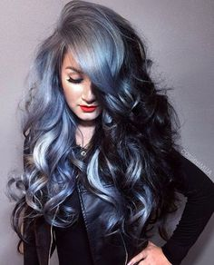 if you are looking grey blue hair color for you and your friends then here you can find the best and new hair color trends as u like. Hair Color Blue, Cool Hair Color, Blue Hair, Hair Colors, Dyed Gray Hair, Black To Grey Ombre Hair, Black And Silver Hair, Color Black, Gorgeous Hair Color