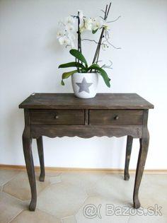 Francuky vintage stol - prirodny hnedy - 1
