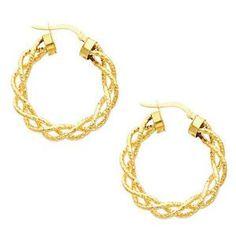 14K Yellow Gold Fancy Twisted Hoop Earrings (Diameter: 30mm)