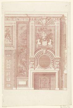 Daniël Marot (I) | Onderboezem voor een wand, Daniël Marot (I), Anonymous, Anonymous, after 1703 - before 1800 | Links is een halve deur zichtbaar met een bovendeurspaneel. Tussen de schoorsteenboezem en de gebogen kroonlijst hangt een spiegel, daarboven staat een vaas met bloemen. Helemaal bovenaan is het bekroonde monogram WR (William Rex) zichtbaar. Kopie naar prent uit de serie Nouvelles Cheminée faittes en plusieur en droits de la Hollande et autres Prouinces.