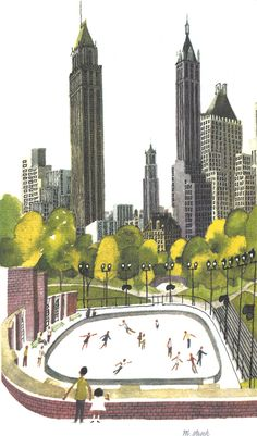 Miroslav Sasek. Skating in Central Park. Watercolor and pen and ink. 1960.