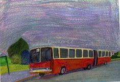 'Historical bus Ikarus in Brno' by Lorenzo-CZ Canvas Prints, Framed Prints, Art Prints, Art Boards, Colored Pencils, Travel Mug, Wall Art, Art Impressions, Colouring Pencils