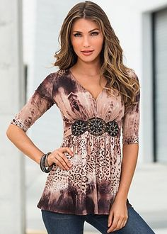 Embellished animal print top by VENUS available in sizes XS, S, M, L, XL