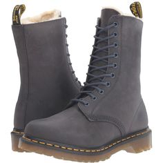 Dr. Martens 1490 FL 10-Eye Boot (Graphite Grey Wildhorse) Women's... ($160) ❤ liked on Polyvore featuring shoes, boots, destroy boots, platform shoes, long grey boots, lace up boots and platform boots