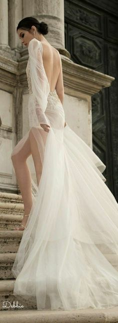 The wedding dress is filled with delicately feminine details. Which is irresistibly romantic bridal collection features elegant wedding dresses. Click the picture to see more beautiful dresses. Wedding Dresses 2018, White Wedding Dresses, White Gowns, Prom Dresses, Backless Wedding, Elegant Wedding Dress, Parisian Wedding Dress, Sophisticated Bride, Bridal Collection