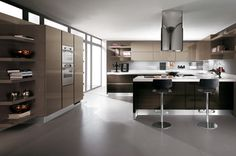 European Kitchen Design from Scavolini - new Scenery in Cream Kitchen Lighting Design, Kitchen Room Design, Living Room Kitchen, Interior Design Kitchen, European Kitchens, Home Kitchens, My Home Design, House Design, Scavolini Kitchens