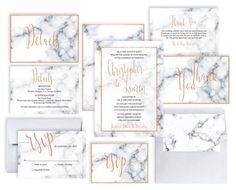 Marble Wedding Invitation Printable Marble Rose by PucciPaperie